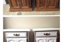 Refinished  nightside tables / Side tables traditional in washed white and taupe frame