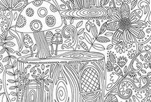 Setas Hongos Bosque Antiestrés Colorear