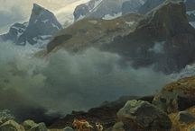 Norwegian National Romantic  painters / Movement in Norway between 1840 - 1867 in art, literature and music. Emphasized the aestetics of Norwegian nature and the uniqueness of Norwegian identity. Characterized by some nostalgia. Prominent painters: Adolph Tidemand, Hans Gude, J.C.Dahl,  August Cappelen.
