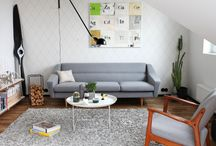 One designer-couch for 11 different looks / Designer-Couch in different interiors. For a cool scandinavian design- and retro-look!