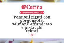 Penne con salmone e gorgonzola e pistacchio