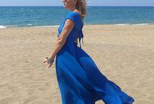 М_002+М_003 Юбка-солнце и топ шелковые, цвет синий