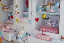 My Antique Valentine Hutch / All my Pyrex and melamine in my cutie pie hutch!