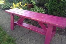 black cherry garden bench