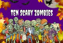 Ten Scary Zombies / It's Halloween, and ten scary zombies are trick-a-treating on Halloween night. Zombies take center stage on a rendition of an old classic 'Ten Little Indians.' In this humorous version, young children learn to count down from the number ten to one as the ten scary zombies meet a challenge to test their bravery. Will there be any zombies left?  Enjoy a collection of children's Halloween jokes to create a chuckle!