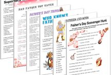 "Father's Day Printable Games / For your special dad, there's no better way to treat him than with a few fun Father's Day games! Featuring father approved games like superhero trivia and ""Fathers and Sons"" matching trivia, these Father's Day games are perfect for playing with dad!  Don't just give your dad a card – bring him pure entertainment and fun with a printable Father's Day game!  Best of all, we're offering ALL of our Father's Day games for one low price! Pay once and get access to nearly one dozen Father's Day games!"