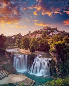 Magnificent town of Jajce in Bosnia Travel Images, Travel Pictures, Beautiful Places To Visit, Wonderful Places, Monuments, Waterfall Fountain, Seen, Beautiful Waterfalls, Bosnia And Herzegovina
