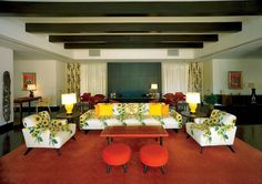 Sunnylands, The Game Room, designed in coral and canary yellow by Haines and Graber.
