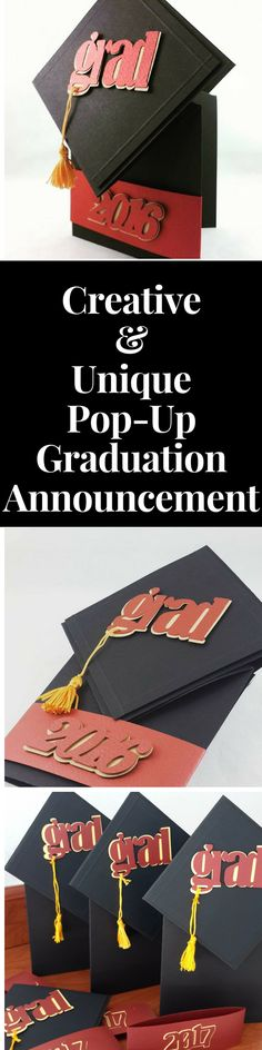 Uniquely Hand-Crafted Graduation Cap Pop Up Announcement/Invitations - This Creative Pop Up design features original Pop Up Card with custom die cut design elements,Grad Cap and Graduation Year with Graduation Tassel. Completely customizable! Available online at http://www.jinkyscrafts.com/  Graduation2017/Graduation Ideas/Graduation Party/Graduation Card/Graduation Gift