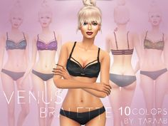 A new bralette design that comes in 10 colors and is available for sims aged teen to elder with its own thumbnail for easy navigation. Found in TSR Category 'Sims 4 Female Everyday'