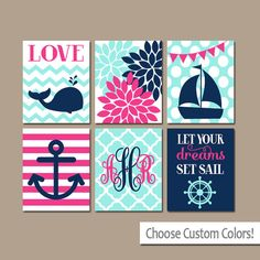 Girl Nautical Wall Art Canvas or Prints Whale Sailboat Anchor Baby Girl Nursery Wall Art Girl Bedroom Artwork Let Your Dreams Sail Set of 6