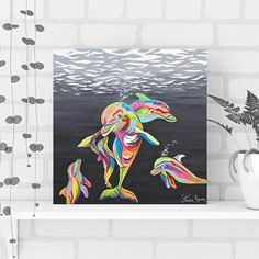 Hidden within the Scottish ocean these characterful dolphin are happily at play. Lets keep them that way and work together to saves the world's oceans! Steven Brown Art, Dolphin Art, Empty Wall Spaces, Oceans Of The World, That Way, Dolphins, Solid Wood, Modern Art, Abstract Art