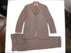 1950s Herringbone Suit Vintage Mens Brown Wool by NormalAveVintage