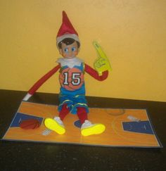 My son has his first basketball game today. When he woke up Marty the elf was cheering him on.
