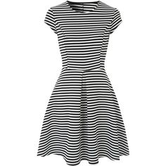 Black And White Stripe Skater Dress (34 AUD) ❤ liked on Polyvore featuring dresses, form fitting dresses, striped dress, black and white dresses, short sleeve dress and stripe dresses
