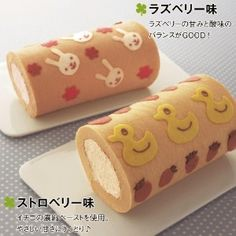 Kids roll cake Swiss Roll Cakes, Swiss Cake, Japanese Roll Cake, Japanese Sweets, Decoration Patisserie, Dessert Decoration, Fondant Cakes, Cupcake Cakes, Patterned Cake