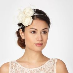 Ivory glitter flower hair piece $54