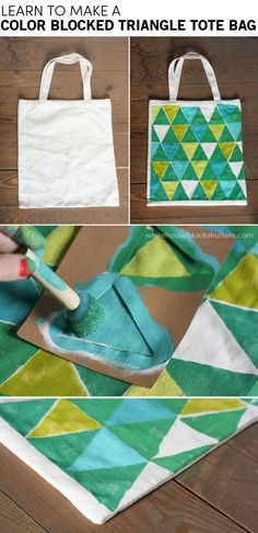 use stencils to make a color blocked triangle tote bag! via @Ann Flanigan Flanigan Marie // white house black shutters