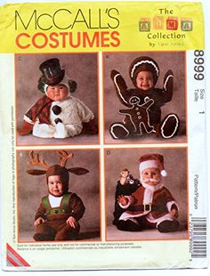 Costume Patterns, Sewing Patterns, Toddler Costumes, Costume Collection, Amazon Art, Gingerbread Man, Sewing Stores, Reindeer, Sewing Crafts