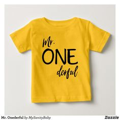 Mr. Onederful Baby T-Shirt - Special designed for the wonderful one year old toddler you got at home. It will make a perfect one year old birthday outfit or one year old gift for a baby boy.