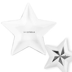 La Estrella - star, El Mundo - world, El Diablito - devil, and La Botella - bottle.  Each character externalizes our cravings for success, ambition, eternal youth, and happiness.   La Estrella - star Available in gold trim or silver  Machine washable, hand preferred to protect luster Design By Lorena Gaxiola