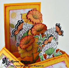Floral/Butterflies Card-in-a-Box  (Note: card created with 2 digi stamp sets)  (Site: photos of card & of digi stamp sets; link to designer's blog for info, but not found on main blog page)