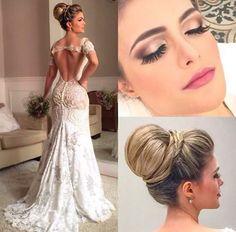 Vestido de noiva sereia Penteado coque Make para noiva