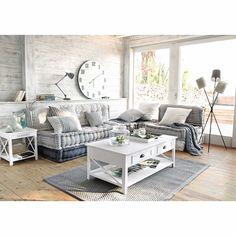 Banquette d'angle modulable 6 places en coton grise et blanche Honfleur…