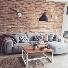 Decor Ideas for Every Taste with Modern Lighting Solutions - Wohnideen - Small Space Interior Design, Home Decor, House Interior, Home Deco, Room Decor, Living Room Decor Modern, Brick Living Room, Living Room Decor Inspiration, Home Decor Furniture