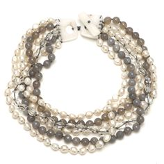 Multi Strand White Pearl, Blue Agate and Crystal on White Jade Necklace