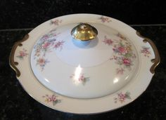 Floral Victorian Rose Covered Vegetable Dish Nippon Toki Kaisha Japan #TokiKaisha