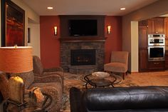Image result for fireplace tv wall sconce