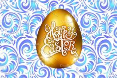 Happy Easter. golden egg vector by Rommeo79 on @creativemarket