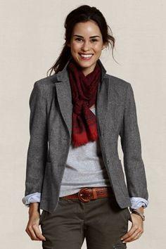 love this look - cargo, belt, blazer, scarf (this blazer even has elbow patches)