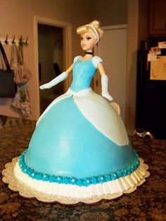 Cinderella birthday cake - love the doll cake!                                                                                                                                                      More