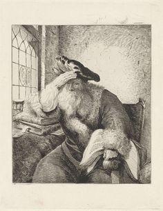 Diederik Jan Singendonck | Grijsaard aan het venster, Diederik Jan Singendonck, Rembrandt Harmensz. van Rijn, in or after 1815 | Een oude man met een grote baret en met bont afgezette mantel zit op een stoel voor een raam. Zijn arm rust op een stapel boeken op een tafel. Met zijn andere hand houdt hij een boek vast dat op de armleuning van de stoel ligt. Naast de stoel staat een globe, op de tafel een zandloper en een schedel.