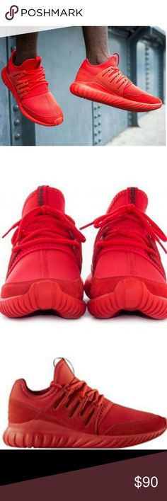 Adidas Tubular Radial Triple Red Looking for that all red Adidas tubular radial? Dont worry, its right here for you bro. Smooth look for a smooth man. For all the young whippersnappers that wants to roll up in the club and boast an all red shoe. This here's for you   Brand new in box 100% authentic New never worn Excellent condition. Adidas Shoes Sneakers