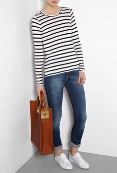my obsession with breton stripes continues  Fisher Stripe Jersey Top by Theory