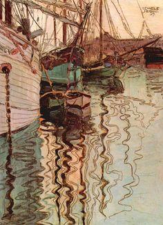 Egon Schiele (Austrian, 1890-1918). Sailboats in Wellenbewegtem Water (The Port of Trieste), 1907.