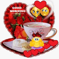 Animated Gif by Massimo_De_Santics Cute Good Morning Gif, Good Morning Smiley, Good Morning Kisses, Good Morning Coffee, Good Morning Flowers, Morning Wish, Good Morning Quotes, Emoji Photo, Day And Nite