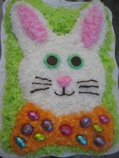 I have been making for years!! My aunt JoAnn made it when I was a little girl, and I remember thinking about it every Easter until I was old enough to make my own!To make this fun Easter Bunny cake…