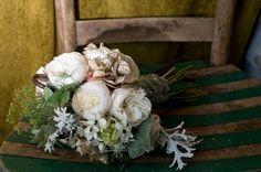 vintage inspired with peonies, paper flowers, dusty miller, herbs