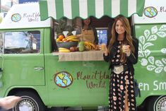Green juice truck! Totally thinking about doing this as a start to my business! I love the convered VW (always been a dream to owe one).