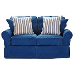 shop for a cindy crawford home beachside blue denim loveseat at rooms to go find loveseats that will look great in your home and complement the rest of