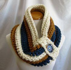 Cowl PATTERN Chunky Bulky Button Crochet Cowl: Off White, Windsor Blue, Honey Brown - DIGITAL PATTERN $5.50 on Etsy