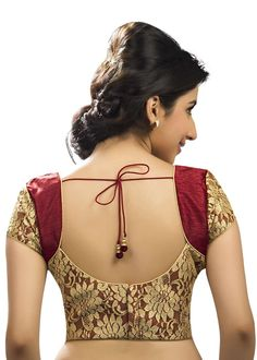 Floral Brocade Party-Wear Maroon Sari Blouse SNT-X-264-SL