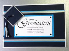 """Graduation card in blues and silver with a """"cap & tassel"""""""