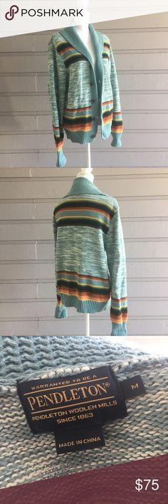 Pendleton 100% cotton sweater Hi Y'all! All items in my closet are sold as is, any flaws that I find while I do my inspection will be displayed in the photographs or notes below. Measurements are available on request, and I'm happy to answer any questions you might have, or post additional photos. If you're concerned about fit or anything else please, please, please ask before purchasing! Items come from a smoke free home with one big fur baby, I launder all clothing before posting unless…