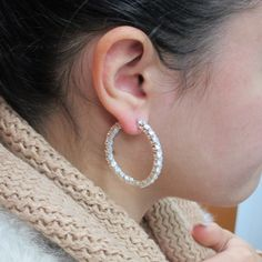 CT Diamond Inside/Outside Hoop Earrings in White Gold Gold Diamond Earrings, Collaboration, Autumn Fashion, Artisan, Diamonds, White Gold, Hoop Earrings, Photoshoot, Jewels