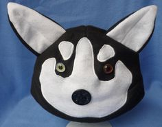 Husky/ Malamute Dog Fleece Hat Black and White by SunnyMomo, $29.95